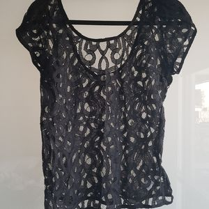 UO pins and needles low back lace top